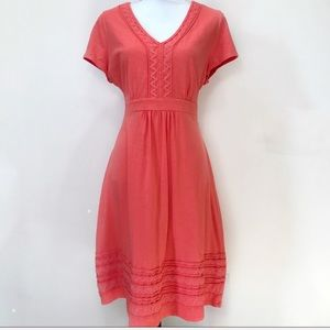 Boden Dress Coral V Neck 14 Stretch